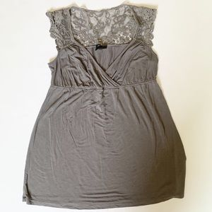 Cynthia Rowley Small grey top with lace accents